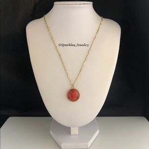 Plunder JO Necklace Red Marbled Pendent